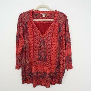 Lucky Brand Batik Printed Top V-Neck Jersey Knit